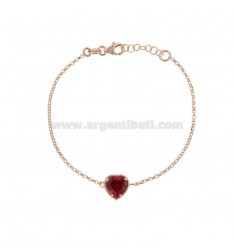 ROLO BRACELET 'CM 17-19 WITH 10 MM HEART IN SILVER ROSE TIT 925 AND RED ZIRCONE