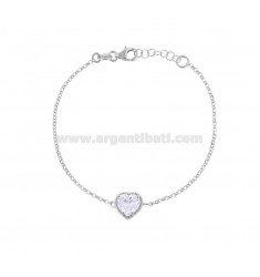 ROLO BRACELET 'CM 17-19 WITH 10 MM HEART IN SILVER RHODIUM TIT 925 AND WHITE ZIRCON