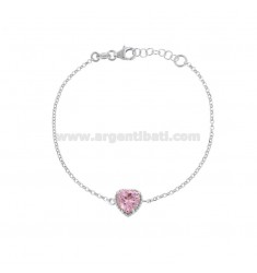 ROLO BRACELET 'CM 17-19 WITH 10 MM HEART IN SILVER RHODIUM TIT 925 AND ROSE ZIRCONE