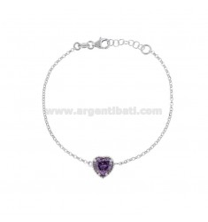 ROLO BRACELET 'CM 17-19 WITH 10 MM HEART IN SILVER RHODIUM TIT 925 AND PURPLE ZIRCON