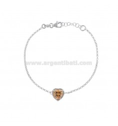 ROLO BRACELET 'CM 17-19 WITH 10 MM HEART IN SILVER RHODIUM TIT 925 AND CHAMPAGNE ZIRCONE