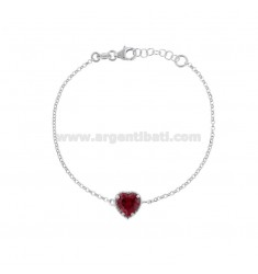 ROLO BRACELET 'CM 17-19 WITH 10 MM HEART IN SILVER RHODIUM TIT 925 AND RED ZIRCONE