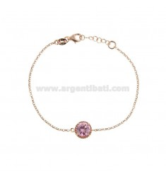 BRACELET ROLO 'CM 17-19 WITH POINT LIGHT 10 MM SILVER ROSE TIT 925 AND ROSE ZIRCONE