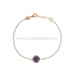 BRACELET ROLO 'CM 17-19 WITH POINT LIGHT 10 MM SILVER ROSE TIT 925 AND PURPLE ZIRCON