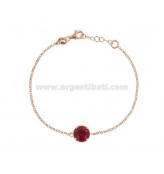BRACELET ROLO 'CM 17-19 WITH POINT LIGHT 10 MM SILVER ROSE TIT 925 AND RED ZIRCONE