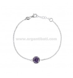 BRACELET ROLO 'CM 17-19 WITH POINT LIGHT 10 MM SILVER RHODIUM TIT 925 AND PURPLE ZIRCON