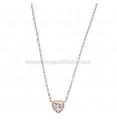 ROLO NECKLACE 42-44 CM WITH 10 MM HEART IN SILVER ROSE TIT 925 AND WHITE ZIRCONE