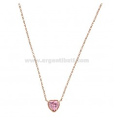 ROLO NECKLACE 42-44 CM WITH 10 MM HEART IN SILVER ROSE TIT 925 AND ROSE ZIRCONE