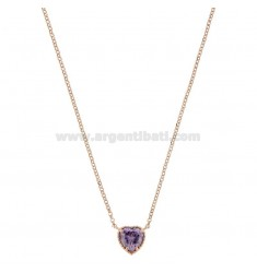 ROLO NECKLACE 42-44 CM WITH 10 MM HEART IN SILVER ROSE TIT 925 AND PURPLE ZIRCONE