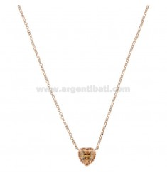 ROLO NECKLACE 42-44 CM WITH 10 MM HEART IN SILVER ROSE TIT 925 AND CHAMPAGNE ZIRCONE