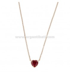 ROLO NECKLACE 42-44 CM WITH 10 MM HEART IN SILVER ROSE TIT 925 AND RED ZIRCONE