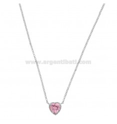 ROLO NECKLACE 42-44 CM WITH 10 MM HEART IN SILVER RHODIUM TIT 925 AND PINK ZIRCONE