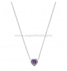 ROLO NECKLACE 42-44 CM WITH 10 MM HEART IN SILVER RHODIUM TIT 925 AND PURPLE ZIRCONE