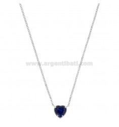 ROLO NECKLACE 42-44 CM WITH 10 MM HEART IN SILVER RHODIUM TIT 925 AND BLUE ZIRCONE