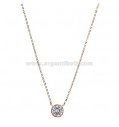 ROLO NECKLACE 42-44 CM WITH LIGHT POINT 10 MM SILVER ROSE TIT 925 AND WHITE ZIRCON
