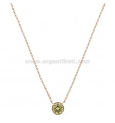 ROLO NECKLACE 42-44 CM WITH LIGHT POINT 10 MM SILVER ROSE TIT 925 AND GREEN ZIRCONE