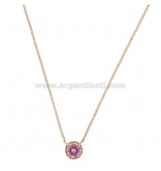 ROLO NECKLACE 42-44 CM WITH LIGHT POINT 10 MM SILVER ROSE TIT 925 AND PINK ZIRCONE