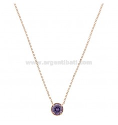 ROLO NECKLACE 42-44 CM WITH POINT LIGHT 10 MM SILVER ROSE TIT 925 AND PURPLE ZIRCON