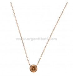 ROLO NECKLACE 42-44 CM WITH LIGHT POINT 10 MM SILVER ROSE TIT 925 AND CHAMPAGNE ZIRCONE