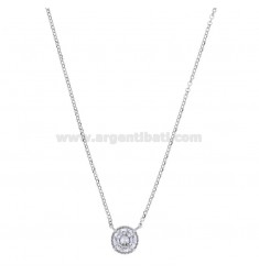 ROLO NECKLACE 42-44 CM WITH 10 MM LIGHT POINT IN SILVER RHODIUM TIT 925 AND WHITE ZIRCON
