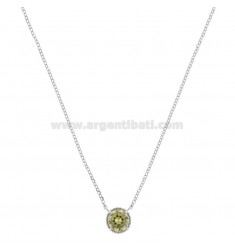 ROLO NECKLACE 42-44 CM WITH 10 MM LIGHT POINT IN SILVER RHODIUM TIT 925 AND GREEN ZIRCONE
