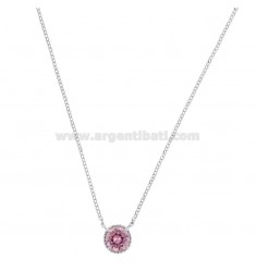 ROLO NECKLACE 42-44 CM WITH LIGHT POINT 10 MM SILVER RHODIUM TIT 925 AND PINK ZIRCON