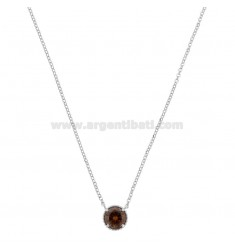ROLO NECKLACE 42-44 CM WITH LIGHT POINT 10 MM SILVER RHODIUM TIT 925 AND SMOKE ZIRCON