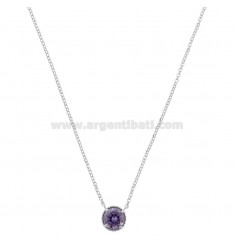 ROLO NECKLACE 42-44 CM WITH POINT LIGHT 10 MM SILVER RHODIUM TIT 925 AND PURPLE ZIRCONIA