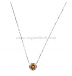 ROLO NECKLACE 42-44 CM WITH 10 MM LIGHT POINT IN SILVER RHODIUM TIT 925 AND CHAMPAGNE ZIRCONE