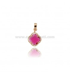SMALL FLOWER PENDANT IN HYDROTHERMAL STONE COLOR FUCSIA 16 AND ROSE GOLD PLATED AG TIT 925