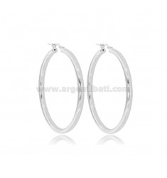 CIRCLE EARRINGS 40 MM ROUND ROD 3 MM SILVER RHODIUM TIT 925 ‰