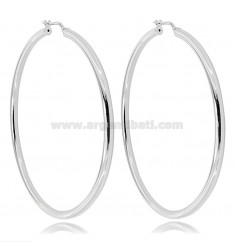 RING EARRINGS 60 MM WITH ROUND ROD 3 MM SILVER RHODIUM TIT 925 ‰