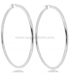 RING EARRINGS 70 MM ROUND ROD 3 MM SILVER RHODIUM TIT 925 ‰