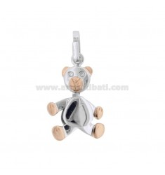PENDANT BEARLE MOVABLE IN SILVER PLATED RHODIUM AND ROSE GOLD TIT 925 WITH ZIRCONIA
