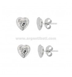 EARRINGS IN LOBO HEART 8X8 MM 2 PCS IN SILVER RHODIUM TIT 925