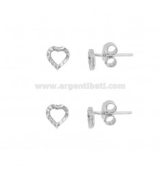 EARRINGS WITH LOBO CONORTO HEART 6X6 MM 2 PCS IN SILVER RHODIUM TIT 925