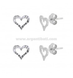 EARRINGS WITH LOBO CONORTO HEART 9X9 MM 2 PC SILVER RHODIUM TIT 925
