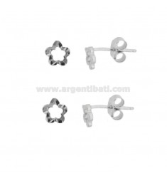 EARRINGS WITH LOBO CONORTO FIORE 6X6 PCS 2 SILVER RHODIUM TIT 925