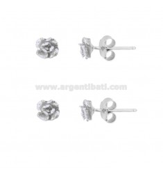 EARRINGS WITH LOBO FLOWER 6 PCS 2 IN SILVER RHODIUM TIT 925