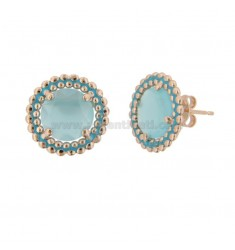 LOBO EARRINGS 15 MM WITH MICROSFERE SILVER ROSE TIT 925 HYDROTHERMAL STONE AND POLISH TURQUOISE