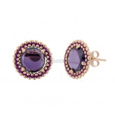 LOBO EARRINGS 15 MM WITH SILVER ROSE MICROSFERE TIT 925 HYDROTHERMAL STONE AND VIOLET ENAMEL