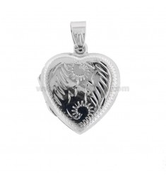 PHOTO HOLDER HEART MM 27X23 MIXED ENGRAVINGS IN SILVER TIT 925