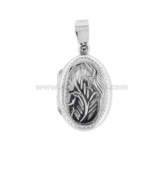 PENDANT PHOTO OVAL 25x16 MM MIXED ENGRAVINGS IN SILVER TIT 925