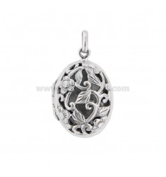 PENDANT PHOTO OVAL 26X17 MM MIXED ENGRAVINGS IN SILVER TIT 925