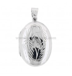 PENDANT PHOTO OVAL 34X23 MM MIXED ENGRAVINGS IN SILVER TIT 925