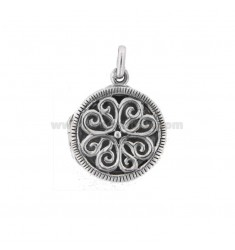 PENDANT PHOTO ROUND 20 MM MIXED ENGRAVINGS IN SILVER TIT 925