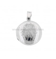 PENDANT PHOTO ROUND MM 23 MIXED ENGRAVINGS IN SILVER TIT 925