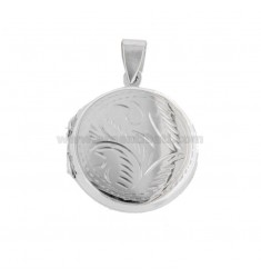 PENDANT PHOTO ROUND 25 MM MIXED ENGRAVINGS IN SILVER TIT 925