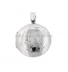 PENDANT PHOTO ROUND 26 MM MIXED ENGRAVINGS IN SILVER TIT 925