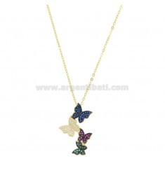 CABLE CHAIN WITH DEGRADE BUTTERFLIES PENDING SILVER SILVER TIT 925 ‰ AND COLORED ZIRCONS 42-45 CM